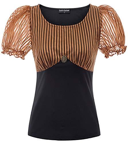 SCARLET DARKNESS Bluse Damen Vintage Viktorianische Renaissance Steampunk U-Neck Tops Braun L (Mechaniker Kostüm Frauen)