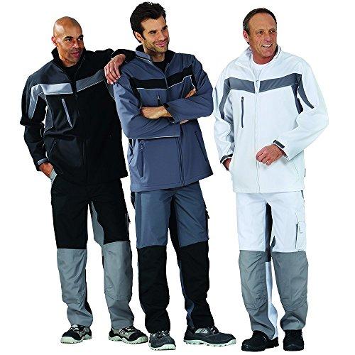 Plaline Arbeitskleidung Softshell Jacke rot/schiefer reinweiß/zink
