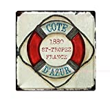 Eureya Metal Tin Sign for Home Cafe Bar Wall Decor Vintage Advertising Wall Plaques 30x30cm - Perfect Souvenir (1880 ST-TROPEZ FRANCE)