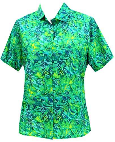 LA LEELA Hawaii-Hemd Blusen-Taste nach unten entspannt fit Frauen mit kurzen Ärmeln Lager grün l -