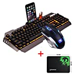 UrChoiceLtd® 2017 Ajazz Battle Axe RGB Orange Yellow LED Backlit Multimedia Ergonomic Usb Gaming Keyboard + 2400DPI X4 6 Buttons Colorful Rainbow Gaming Mouse + Free Mousepad for PC (Grey/Black)