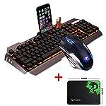 UrChoiceLtd® 2017 Ajazz Battle Axe RGB Orange Yellow LED Backlit Multimedia Ergonomic Usb Gaming Keyboard + 2400DPI X4 6 Buttons Colorful Rainbow Gaming Mouse + Free Mousepad for PC (Grey/Black)