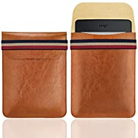WALNEW 6 Inch Kindle Sleeve - Microfiber leather Lightweight Pouch Case with Elastic Strap Closure for New Kindle, Kindle 4/5, Kindle Touch, Kindle Paperwhite, Kindle Voyage, Brown