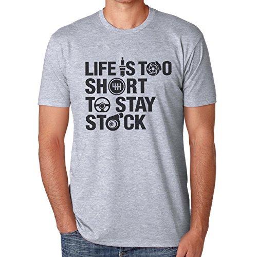 Life Is Too Short To Stay Stock Automotive Design Herren T-Shirt Grau
