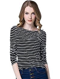 EOZY T-shirt hiver femme rayure Sweatshirt Hoodie blouse top