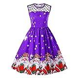 SEWORLD Weihnachten Retro Christmas Weihnachten Kleid Ärmelloses Weihnachten Gedruckt Vintage Abend Party Prom Swing Kleid(X2-f-violett,EU-36/L)