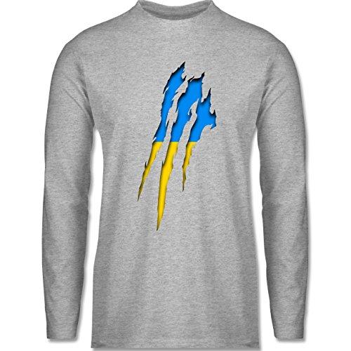 EM 2016 - Frankreich - Ukraine Krallenspuren - Longsleeve / langärmeliges T-Shirt für Herren Grau Meliert