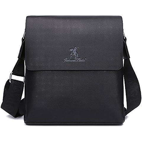 TECOOL Men's Grain Leather Briefcase Business Messenger Bag Vintage Shoulder Bag Portable Shoulder Bag Tote Classic Satchel