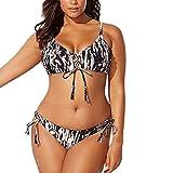 XW_H Push-up Snellenti Donna Costume Intero Sexy Scollo AV Schiena Scoperta Stampato Triangolo Bikini Costume da Bagno | Trikini | Bikini | Monokini (Color : Nero, Size : X-Large)