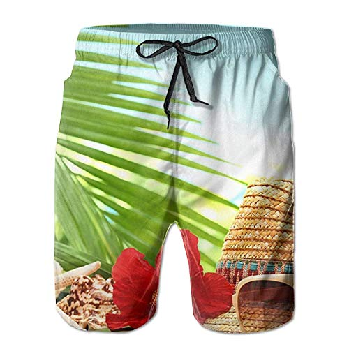 Aluys boutique Mens Swim Trunks Quick Dry Starfish Printed Holiday Beach Board Shorts with Mesh Lining