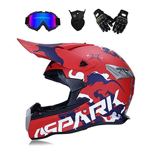 Outdoor Adult Vollgesichts MX Helm Motocross Offroad Dirt Bike Motorrad ATV Helm Mit Goggle Maske und Handschuhe,Red,S