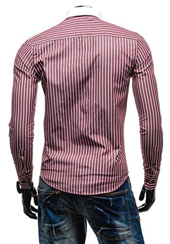 BOLF Langarm Herrenhemd Slim Fit BY MIRZAD 5768 Weinrot