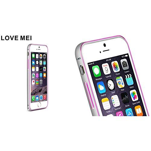 Love Mei Schutzhülle für iPhone 6(11,9cm) de Luxe aus Aluminiumlegierung Bumper Rahmen aus Metall Gray+Rose