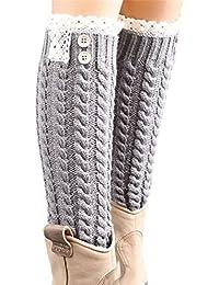 Hiver chaud laine douce dentelle de Söcking des femmes, Twist tricot Jambières Boot Socks