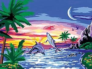 Ravensburger Spiel 28851 - Juego de Pintar guiado por números, diseño de Delfines al Atardecer