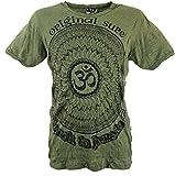 Guru-Shop Sure T-Shirt Mandala OM, Herren, Olive, Baumwolle, Size:XL, Bedrucktes Shirt Alternative Bekleidung