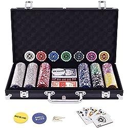 Display4top Set de Poker 300 jetons Laser Haute qualité 12 g Noyau en Métal,Noir avec étui en Aluminium, 2 Jeux de Cartes, revendeur, Petit Store, Gros Boutons aveugles et 5 Dés
