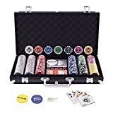 Display4top 300 Piece Texas Holdem Poker Chips Set with Aluminum Case, 2 Decks of Cards, Dealer, Small Blind, Big Blind Buttons and 5 Dice (300 Piece Chips)