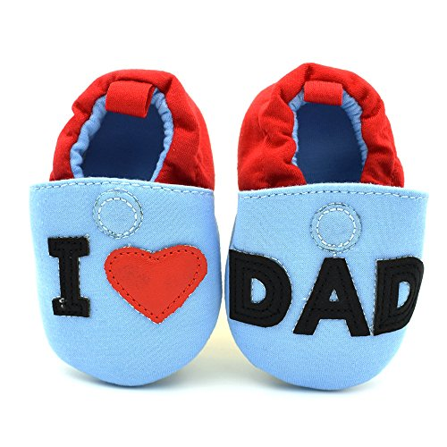 Baby Bucket Pre-Walker Shoes Light Weight Soft Sole I Love Dad Blue & Red Color Baby Boys Booties Shoes (8-12 Months)