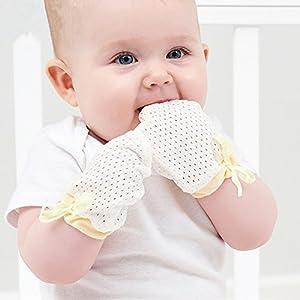 ZGJ Affe 3 Paare Baby Handschuhe gegen Kratzen - Sommer Dünne,Atmungsaktivem Mesh,Einstellbarer,No Scratch Fäustlinge für Neugeborene
