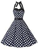 Dressystar DS1957 Robe de Bal Polka Vintage pin-up à 'Audrey Hepburn' 50's 60's Rockabilly Halter,Dos Nu, Marine à Pois à Pois Blanc L