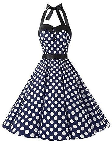 Long White Halter Dress - Dressystar DS1957 Robe de bal Polka Vintage