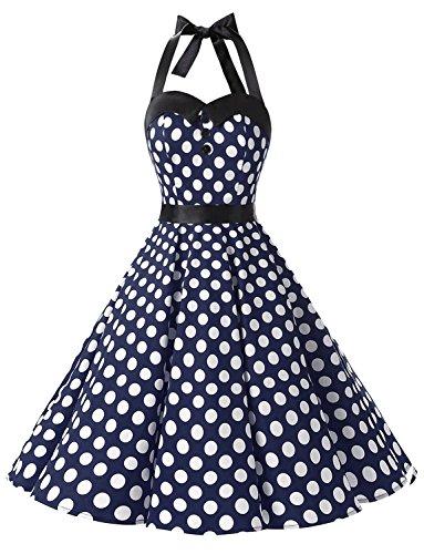 Dressystar Vintage Tupfen Retro Cocktail Abschlussball Kleider 50er 60er Rockabilly Neckholder Marineblue Weiß Dot - Ausgefallene Kleider Kostüm