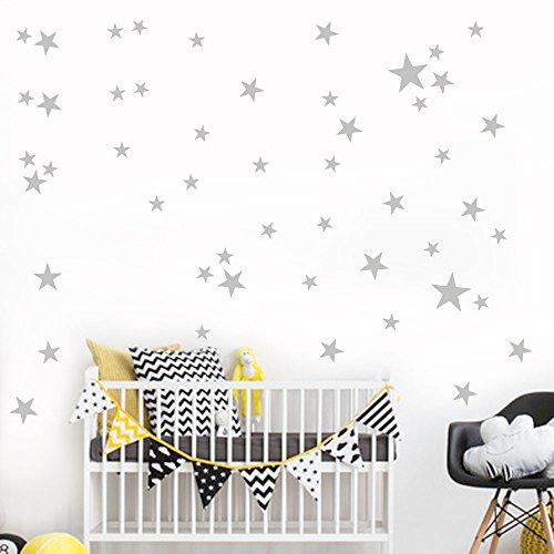 51 Unids/Set Estrella Extraíble Vinilo De Arte Mural Casa Dormitorios Decoración Niños Pegatinas De Pared Gris