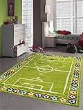 Merinos Kinderteppich Junge Kinderzimmer Teppich Fußball in Grün Größe 160x230 cm