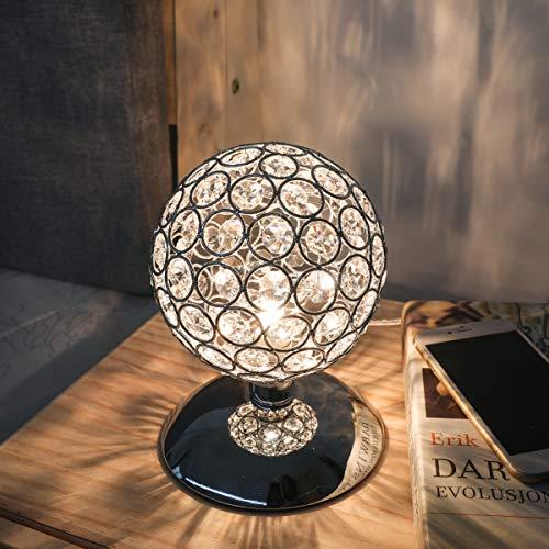 KINGSO Lampe de Table en Cristal K5 Lampe de Chevet Tactile Contrôle Luminosité Dimmable Compatible Ampoule G9 AC 230V Lampe Décoration Idéale pour Chambre, Salon, Restautant, Café Bar - Argent