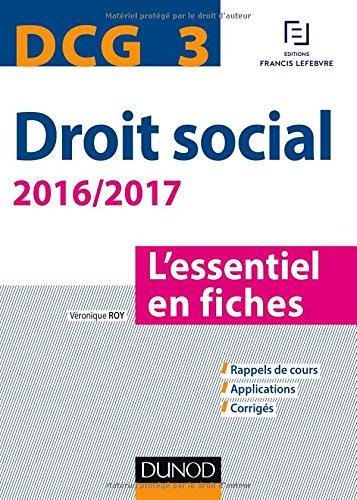 DCG 3 - Droit social 2016/2017 - 7e éd. - L'essentiel en fiches