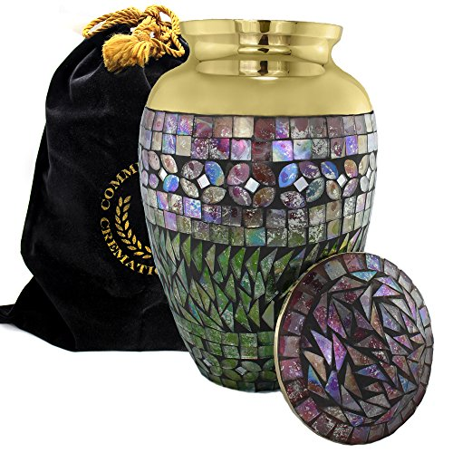 Iridescent Mosaic Cracked Glass GOLD Brass Metal Funeral Cremation Urn for Human Ashes - (Large) (Brass, Large)