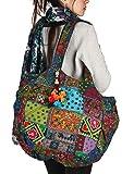 Tribe Azure Floral Bestickt Blau Schulter Tote-Bag Tasche Boho Gypsy Hippie Baumwolle Leicht Geräumig Süß Bunt Schule Laptop Bücher Groß Langlebig Individuell Handgearbeitet