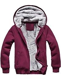 SODIAL(R) 2014 Nouveau Hommes Hiver Sweat-shirts Vestes Zippe Velours Epais Manteau a Capuchon Capuches Rouge Taille XXXL