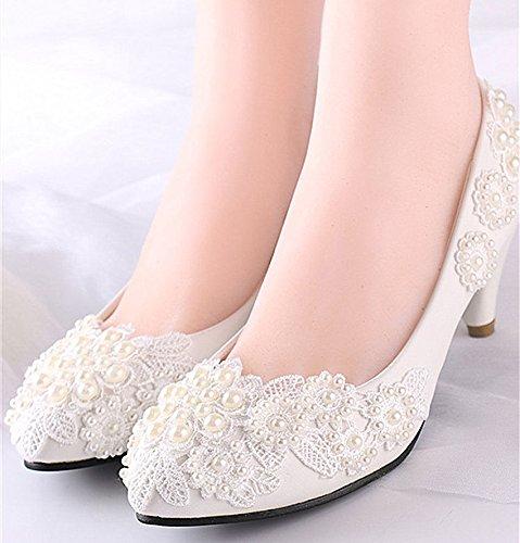 XINJING-S Wohnungen/4 cm/7.5Cm/Keile Heels weisse Spitze Hochzeit Schuhe perlen Braut Größe 6-10 5,5 cm Keil