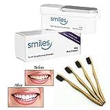 SMILES Teeth Brightening Whitening Powder 40g Mint Flavour With Bamboo Toothbrush Black Bristles