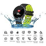 JASZHAO Bluetooth Smart Watch, Nuovo Display colorato/Sport Health Tracker/Heart Tasso di rilevazione/IP68 Impermeabile Nuoto/Smart Band per iOS Android,A