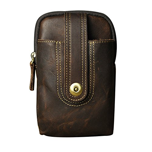 Genda 2Archer Portemonnaie aus Leder Handy Tasche kleine Gürteltasche (Dunkelbraun) Dunkelbraun