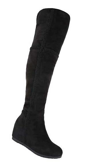 AKTUELLE Damen Overknee Stiefel Schuhe Keil Wedges Boots 36 41