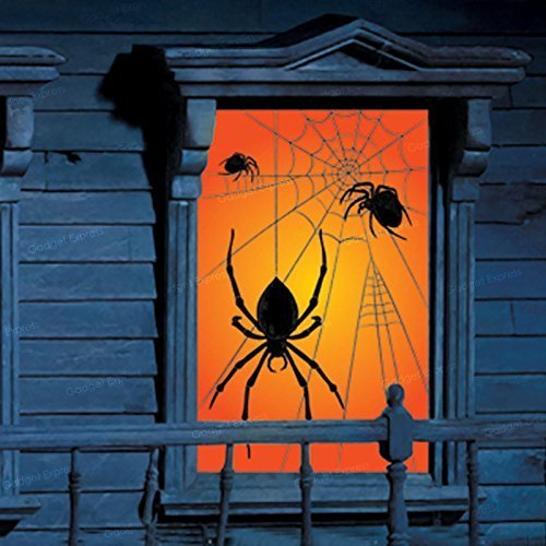 een Window Silhouette Scary Spider Spiderweb Orange Yellow Wall Decorations - Tarantula Black Widow Webs by Amscan (Scary Halloween-silhouetten)