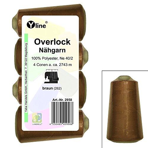 4 Stück Spulen Overlock - Nähgarn, braun, a. 2743 m, NE 40/2, 100% Polyester, Nähfaden, Nähmaschinen Garn, 2958