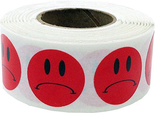 Rojo Triste Cara Circulo Punto Pegatinas, 19 mm 3/4 Pulgada Redondo, 500 Etiquetas en un Rollo