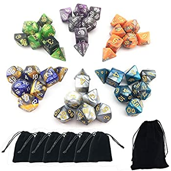 Smartdealspro 6 X 7 Sets(42 Pieces) New Arrival Two Colors Polyhedral Dice With Free Pouches For Dungeons & Dragons Dnd Rpg Mtg Table Games D4 D8 D10 D12 D20 (6-colors Set 2) 0