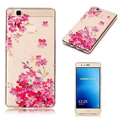Etui pour Huawei P9 Lite KSHOP Coque Protection en Gel Silicone TPU Premium Bumper Cover 2017 Transparent Crystal Design avec Motif - Série Fille de Fleurs