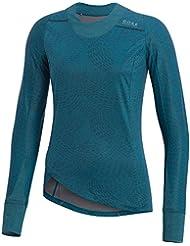 GORE RUNNING WEAR Camiseta de correr, Mujer, Manga larga, Resistente al viento, GORE WINDSTOPPER, SUNLIGHT LADY GWS PRINT Shirt long, Talla: 34, Azul cyan, SWSUNL290002