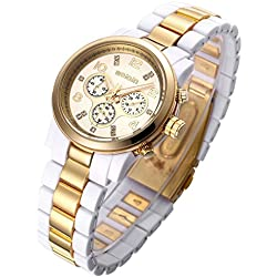 Enticing And Luxurious Women's Gold Tone Bracelet Watch