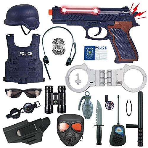 Volwco 18 TLG Polizei Kostüm Set Für Kinder, Cop Toy Set - Abzeichen, Handschellen, Fernglas Für Polizeiuniform, Rollenspiele, Rollenspiele, Halloween-Anzieh, Schulspiele Für Jungen Und Mädchen