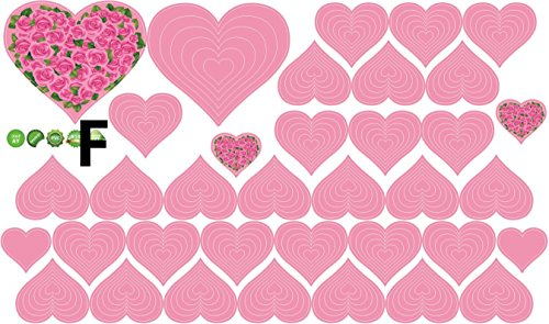 Syga Light pink hearts wall stickers 00AF  available at amazon for Rs.149