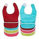 Zollner 8er Set Lätzchen für Babys mit Klettverschluss, ca. 37x23 cm, farbenfroher Mix, Polyestergewebe, Auffangschale