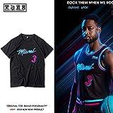 Miami Heat T Shirts Wade Herren Baumwolle Rundhals Kurzarm T-Shirt Basketball Sport Tee Tops